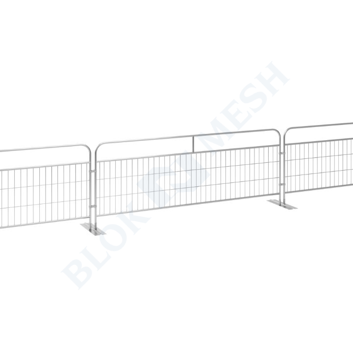 Handrail Crowd Control Barrier with Double Metal Feet